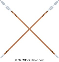 The ancient spear with a metal blade and a wooden handle on a white background. Flat
