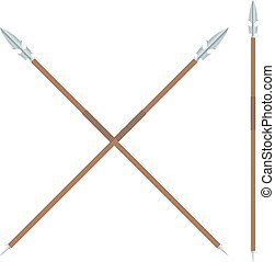 The ancient spear with a metal blade and a wooden handle on a white background.  The