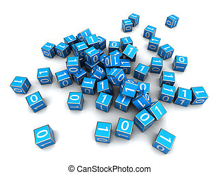 bytes - abstract 3d illustration of igital cubes over white...