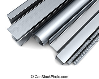 rolled metal - 3d illustration of rolled metal over white...