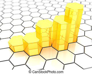 growing graph - abstract 3d illustration ofrising charts...
