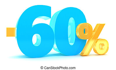 60 percent discount - 3d illustration of 60 percent discount