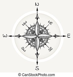 Graphic wind rose compass drawn with floral elements