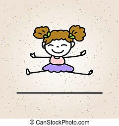 hand drawing cartoon happy girl with beautiful smile, happiness concept character, with pink and purple dress