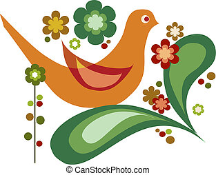 vector bird and flowers for greeting card - cute orange bird...