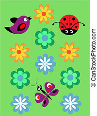 Seamless jolly pattern with Ladybug, birds and flowers -...