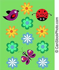Seamless, giocondo, modello, coccinella, Uccelli, fiori