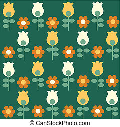 pattern with red flowers and yellow and white tulips