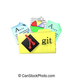 Git version control tool folder. 3d rendering - Folder icon...