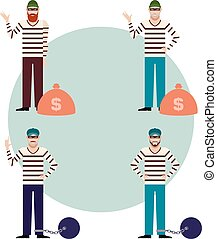 Set of Thieves2 - Vector image of the set of flat icons of...