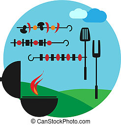 Illustration of backyard bbq scene - Illustration of...