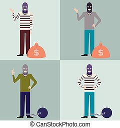 Set of Thieves3 - Vector image of the set of flat icons of...