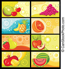 fruit card set - vector illustration of a fruit card set