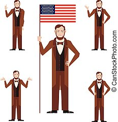 Set of Lincoln icons - Vector image of the set of Lincoln...