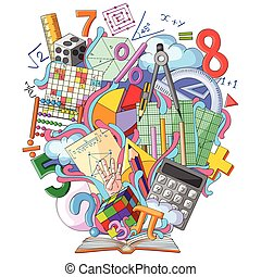 Book of Knowledge for Mathematics - vector illustration of...