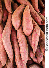 Raw sweet potatoes, sweet potato in the market - Raw sweet...