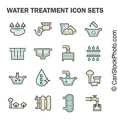 Water treatment icon - Water treatment and water supply icon...