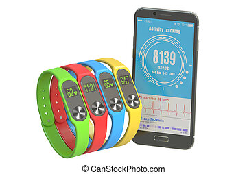 activity trackers or fitness bracelets with smartphone, 3D rendering