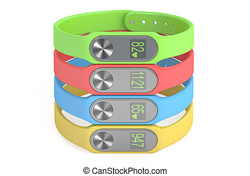 set of colored activity trackers or fitness bracelets, 3D rendering
