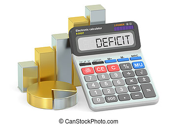 Deficit concept, 3D rendering isolated on white background