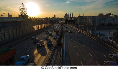 4K time lapse of road traffic and skyscrapers of Moscow city...
