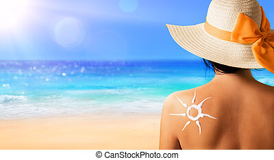 Woman With Suntan Lotion Shaped Sun