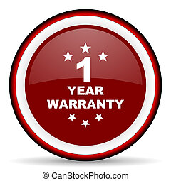 warranty guarantee 1 year round glossy icon, modern design...