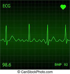 verde, corazón, monitor