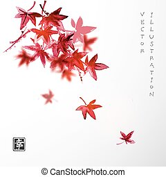 Leaves of red Japanese maple. Traditional Japanese ink...
