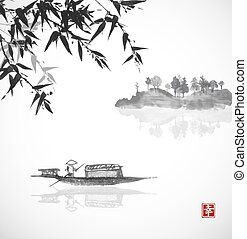 Bamboo, fishing boat and island with trees in fog on white...