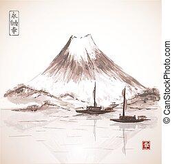 Two fishing boats and Fujiyama mountain.