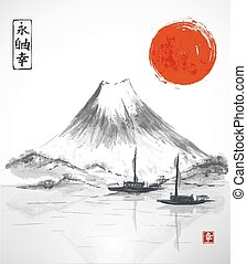 Two fishing boats, sun and Fujiyama mountain. Traditional...