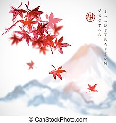 Red Japanese maple leaves and Fujiyama mountain on white...