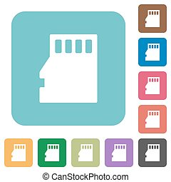 Flat micro SD memory card icons on rounded square color...
