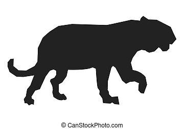 big wild feline silhouette icon - simple flat design big...