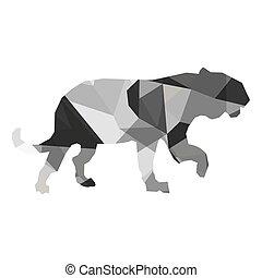 geometric texture big wild feline silhouette icon -...