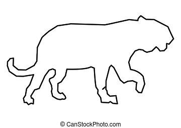 big wild feline outline icon - simple flat design big wild...
