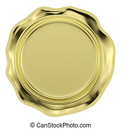 Golden wax seal isolated on white background - Gold sealing...