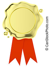 Gold wax seal with small red ribbons isolated on white