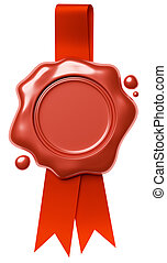 Red wax seal hang on red ribbon isolated on white