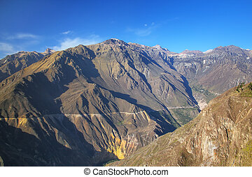 View of Colca Canyon from overlook near Cabanaconde in Peru....