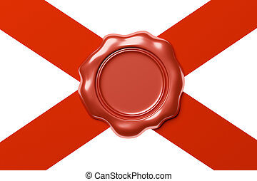 Red wax seal on red ribbon diagonal cross isolated on white...