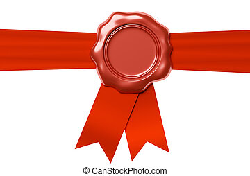 Red wax seal on horizontal red ribbon isolated on white -...