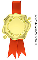 Gold wax seal hang on red ribbon isolated on white