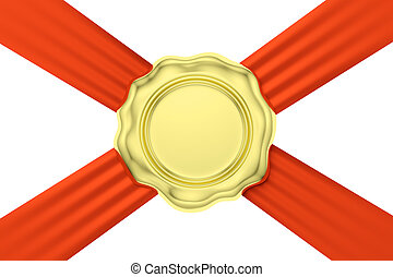 Gold wax seal on red ribbon diagonal cross isolated on white...