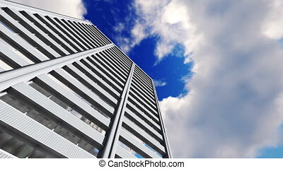 High rise building and timelapse clouds 4K - Abstract high...