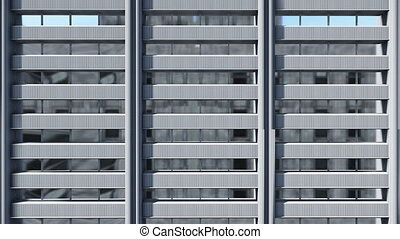 High rise building exterior wall - Upward motion along gray...