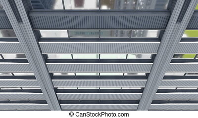 High rise building mirror windows - Downward motion along...