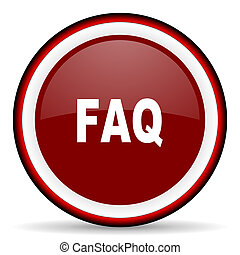 faq round glossy icon, modern design web element