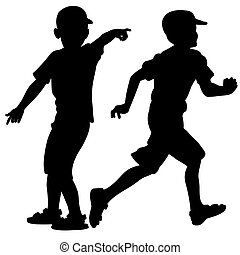 Silhouettes playing small children
